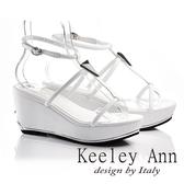 ★零碼出清★Keeley Ann極簡細帶寶石真皮楔形涼拖鞋(白色)-Ann系列