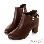 amai 歐美簡約繫帶造型跟靴 棕