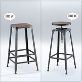 【水晶晶家具/傢俱首選】CX1587-10 HB11C 工業風黑鐵砂腳可升降吧椅(右圖)
