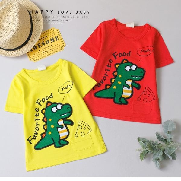 純棉 趣味恐龍小口袋短T 春夏童裝 男童棉T 男童上衣 男童短袖 男童T恤