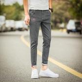 夏季彈力九分牛仔褲男士學生韓版修身潮流百搭小腳薄款男褲子9分「艾瑞斯居家生活」