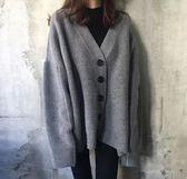 【現貨03】針織外套 韓版V領寬鬆百搭毛衣 單排扣長袖針織衫 開衫外套 灰色