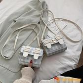 洋氣小包包女韓版百搭紅單肩格子斜挎小方包【小獅子】