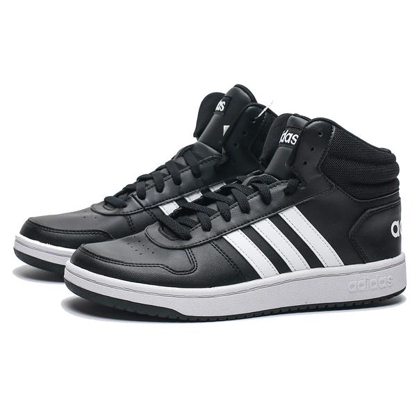 ADIDAS HOOPS 2.0 MID 全黑 白LOGO 皮革 中筒 休閒鞋 男 (布魯克林) BB7207