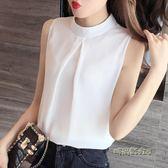 無袖雪紡衫女短袖很仙的上衣夏季女裝2019新款顯瘦百搭立領白襯衫「時尚彩虹屋」