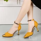 韓版春新款貓跟中空尖頭鞋一字扣帶高跟鞋細跟包頭涼鞋女中跟 原本良品