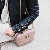 ■專櫃84折■全新真品 ■Gucci GG Marmont Mini 448065 裸粉色波浪紋絎縫相機包