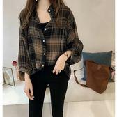 DE SHOP~(XA-6288)寬鬆BF格子襯衫女長袖上衣襯衫