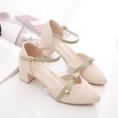 涼鞋 涼鞋女新款中跟百搭粗跟一字扣仙女風高跟鞋包頭單鞋女