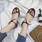 涼鞋女夏2018新款韓版一字帶中跟粗跟學生露趾細帶百搭綁帶羅馬鞋【小梨雜貨鋪】