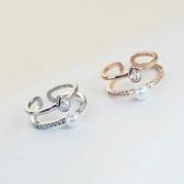 【NiNi Me 】韓系戒指 優雅雙層鋯石珍珠微鑲水鑽開口式戒指戒指F0014