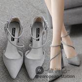 涼鞋/春季新款一字扣尖頭高跟鞋女絨面粗跟黑色中跟綁帶單鞋夏「歐洲站」