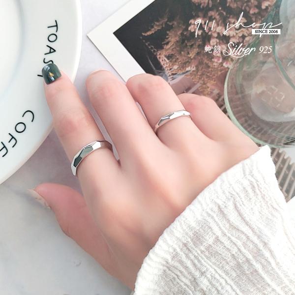 Hoax.925純銀簡單切角紋路開口戒指情侶對戒【s347】911 SHOP