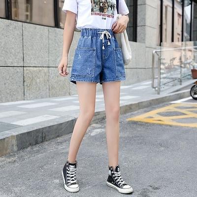 高腰女學生牛仔短褲女寬松松緊熱褲大碼女裝200斤5837F1039快時尚