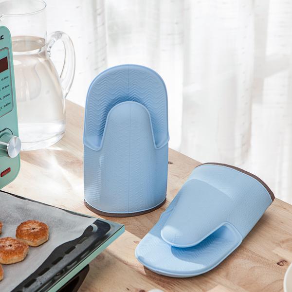 澄澈天藍矽膠隔熱手套2入-生活工場