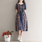 洋裝 連身裙 夏季新款中大尺碼 女裝民族風收腰寬鬆顯瘦系帶鬆緊腰棉麻中長款連衣裙