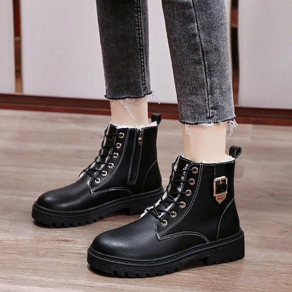 促銷大碼鞋 35-43碼 大碼女鞋41新款網紅dr黑色馬丁靴女英倫秋冬百搭短筒靴42