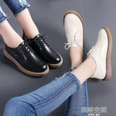 牛津鞋 黑色小皮鞋女秋冬加絨2018新款韓版百搭森系單鞋女平底英倫風鞋子