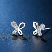 耳環 925純銀鑲鑽-鏤空蝴蝶生日情人節禮物女飾品73hk2【時尚巴黎】