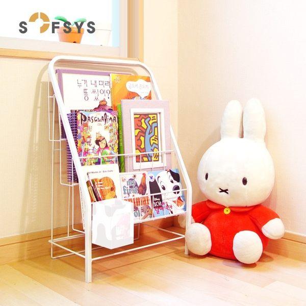 全館88折-雜誌架兒童書架繪本架書報架落地雜志架展示架鐵藝小書架3層4層wy