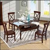 餐桌 美式實木餐桌圓形折疊伸縮兩用餐桌跳台圓桌餐廳桌椅組合黑胡桃色mks  瑪麗蘇