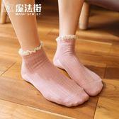 日繫春秋非純棉蕾絲花邊襪淺口短襪韓國可愛女士襪子潮中筒襪 魔法街