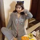 睡衣女薄款長袖開衫格子甜美夏休閒家居服兩件套裝可出門