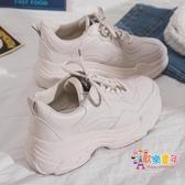 老爹鞋 老爹鞋女春季新款休閒百搭網紅學生白色厚底小白鞋運動女鞋潮 2色