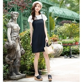 春夏7折[H2O]可單穿或搭配內搭超顯瘦吊帶膝上短洋裝 - 藍格/黑色 #0674003
