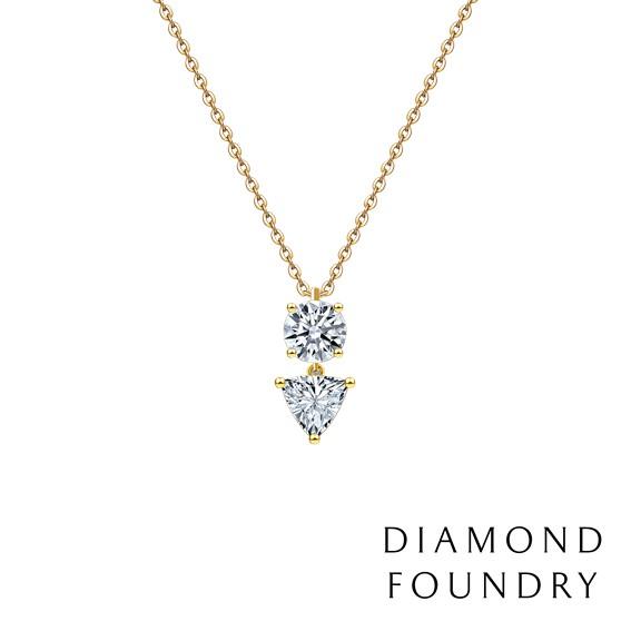 【DIAMOND FOUNDRY 培育鑽石】脈脈倒影圓鑽三角項鍊 1克拉 附原廠DIAMOND FOUNDRY證書
