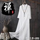 茶服女禪意文藝仿棉麻洋裝夏白色改良旗袍仙氣中國風茶藝茶人服 怦然新品
