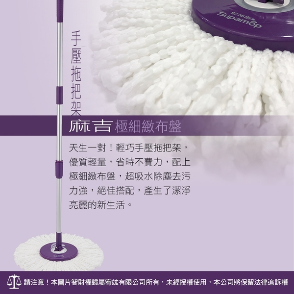 LIKA夢 【WL002】好神拖 輕巧手壓式拖把架 拖把桿配件(350、500、600系列適用)袋裝 無布盤