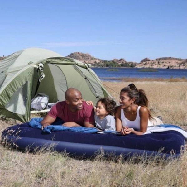【DZ103B】充氣單人加大床墊188x99x22cm 植絨床墊(免運) 充氣床墊 露營 戶外蜂窩獨立筒氣墊床 EZGO商城
