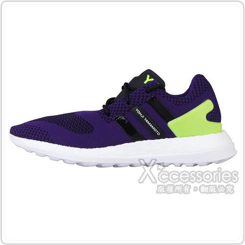 adidas Y-3 PURE BOOST ZG KNIT 黑紫編織設計慢跑鞋(黑+紫)