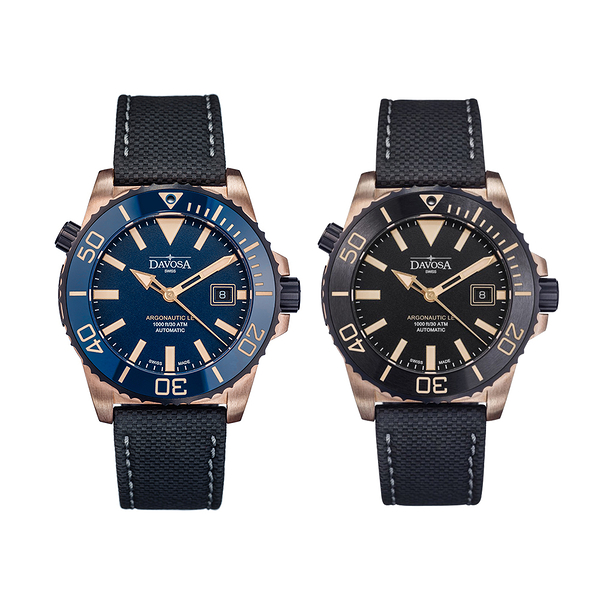 DAVOSA Argonautic Bronze青銅排氦氣300M專業潛水限量錶-黑色/藍色【5295我愛購物】