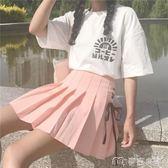 春夏女裝韓版小清新少女綁帶高腰百褶裙學生半身裙百搭短裙A字裙     麥吉良品