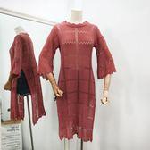 正韓開叉純色氣質中長版上衣鏤空圓領喇叭袖針織衫女