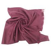 【COACH】經典COACH LOGO 羊毛混桑蠶絲流蘇絲巾圍巾(玫紅)