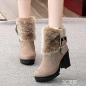 馬丁靴冬季女加厚加絨雪地靴2020新款百搭英倫風34碼粗跟高跟短靴 聖誕節全館免運