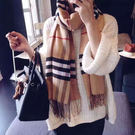披肩圍巾 英倫格子流蘇加厚 - 3色【A...