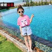 女童短褲2019夏季新款韓版兒童中大童褲子洋氣卷邊牛仔褲 萬客居