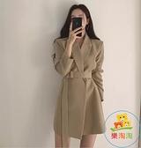 小西裝外套女春秋韓版小個子系帶收腰顯瘦連身裙西服 樂淘淘