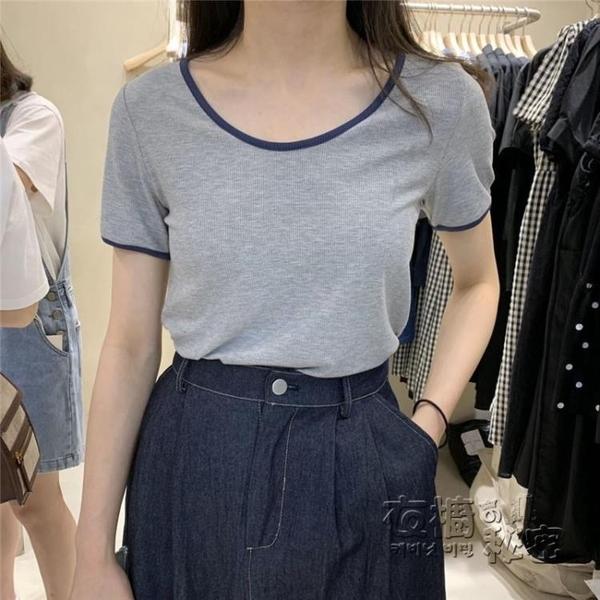 棉麻上衣 夏裝年新款純棉莫代爾寬松螺紋撞色低U領大圓領短袖面膜T恤女 衣櫥秘密
