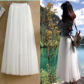紗裙半身裙春季中長款高腰網紗裙白色2018新款黑色顯瘦百褶紗裙  良品鋪子
