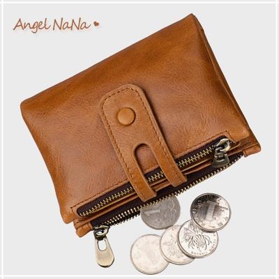 真皮短夾-復古牛皮雙拉鍊搭釦男士皮夾皮包零錢包2折男包男夾  Angelnana (SMA0255)
