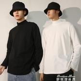 長袖T恤 半高領長袖T恤男寬鬆加絨衛衣秋季ins白色黑色打底衫內搭潮流衣服 麥琪