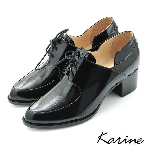 全真皮綁帶樂福粗跟踝靴-漆光黑‧MIT台灣製‧karine