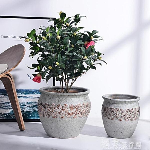 花盆粗陶陶罐壇子花器花瓶庭院種樹玫瑰高筒大花盆陶瓷特大做舊仿古盆YJT 快速出貨