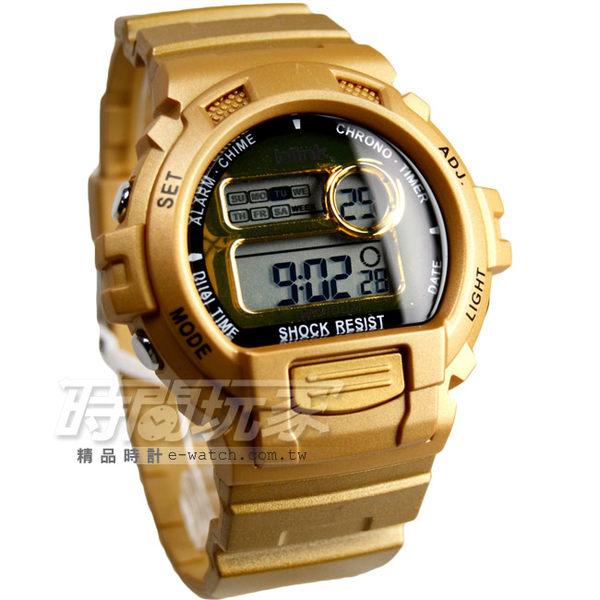 JAGA Blink系列 陽光炫麗多功能運動電子錶 藍色冷光照明 男錶 運動錶 M886-L(金色)