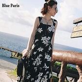 【藍色巴黎 】 涼感 花朵雪紡吊带背心魚尾裙襬俏麗洋裝 /海邊度假洋裝 / 沙灘裙 【28512】